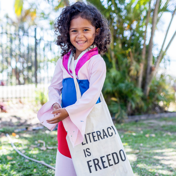 """Literacy is Freedom"" Tote Bag"