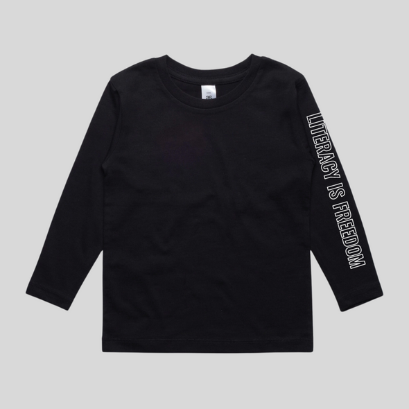 """Literacy is Freedom"" Youth Long-sleeve Tee - Unisex Black"