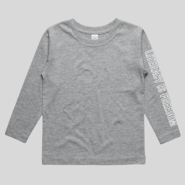 """Literacy is Freedom"" Youth Long-sleeve Tee - Unisex Grey"
