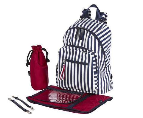 OiOi Backpack Nappy Bag in Navy and White