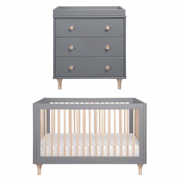 Babyletto Lolly Cot and Change Table Package - Grey and Washed Natural
