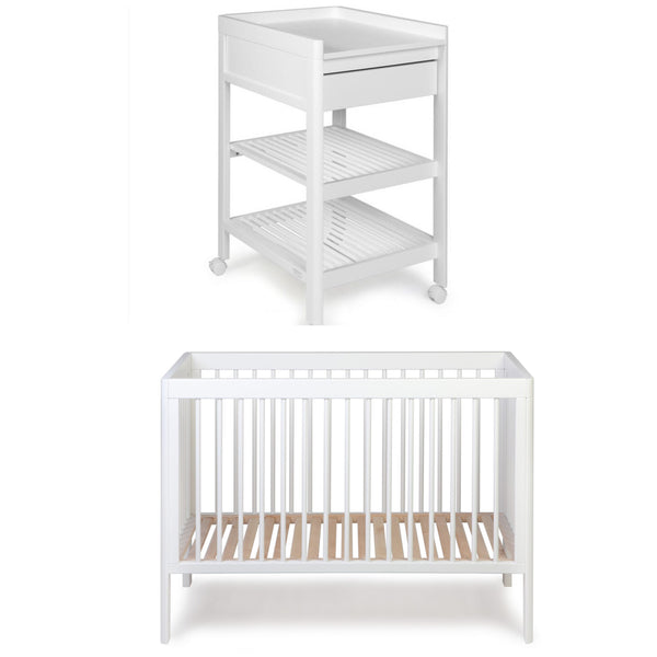 Troll Lukas Cot and Change Table Package - White