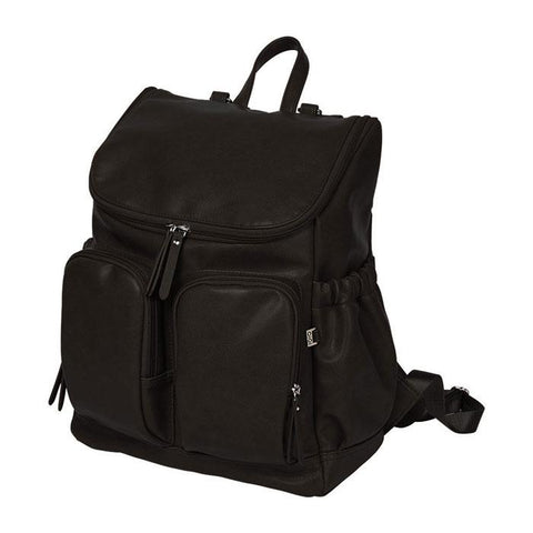 OiOi Faux Leather Backpack Nappy Bag - Black
