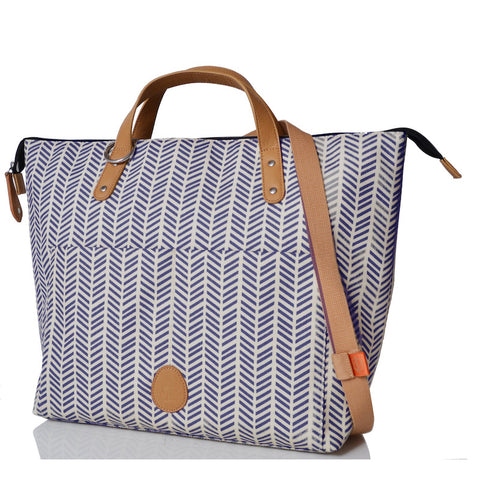 PacaPod Saunton Nappy Bag - Navy Herringbone