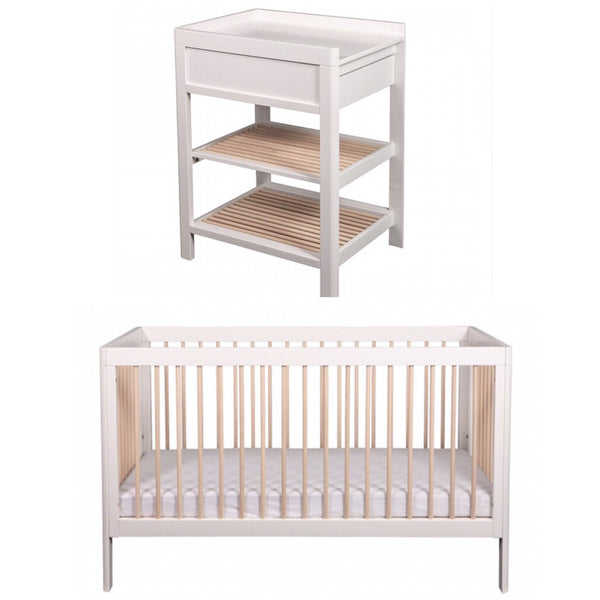 Troll Lukas Cot and Change Table Package - White and Whitewash