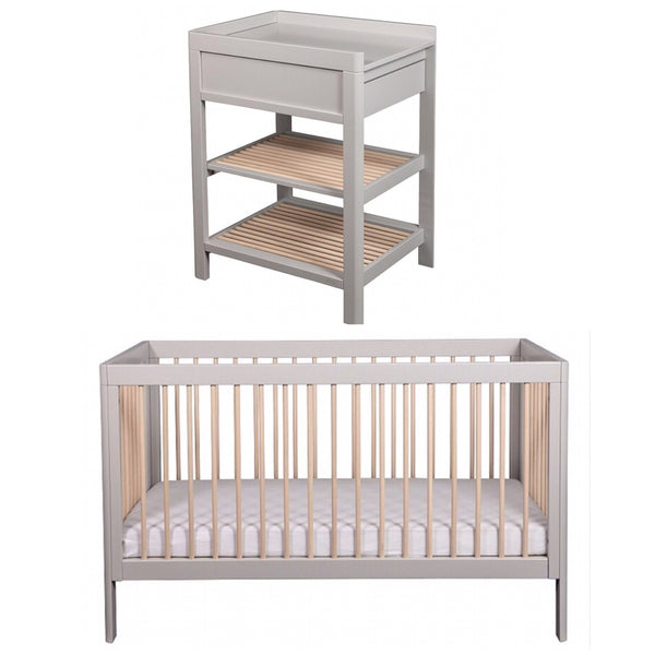 Troll Lukas Cot and Change Table Package - Grey and Whitewash
