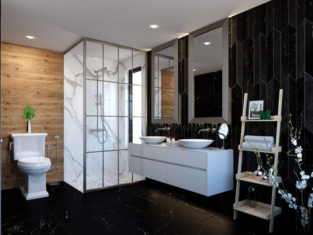 Feature Wall STATUARIO MA07 | Floor BLACK MARQUINA MA08