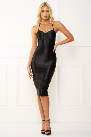 Honey Couture TAMARA Black Midi Bodycon DressHoney CoutureHoney Couture AfterPay OxiPay ZipPay
