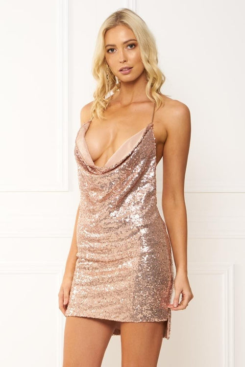 Honey Couture KENDALL Squared Chain Rose Gold Sequin Low Back Sequin Dress Australian Online Store Honey Couture AfterPay ZipPay