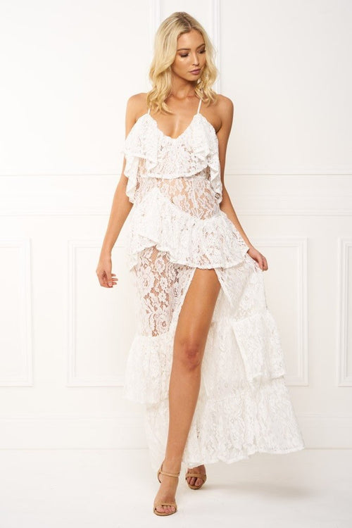 Honey Couture ANGELICA White Lace Peplum Maxi Dress Australian Online Store Honey Couture AfterPay ZipPay