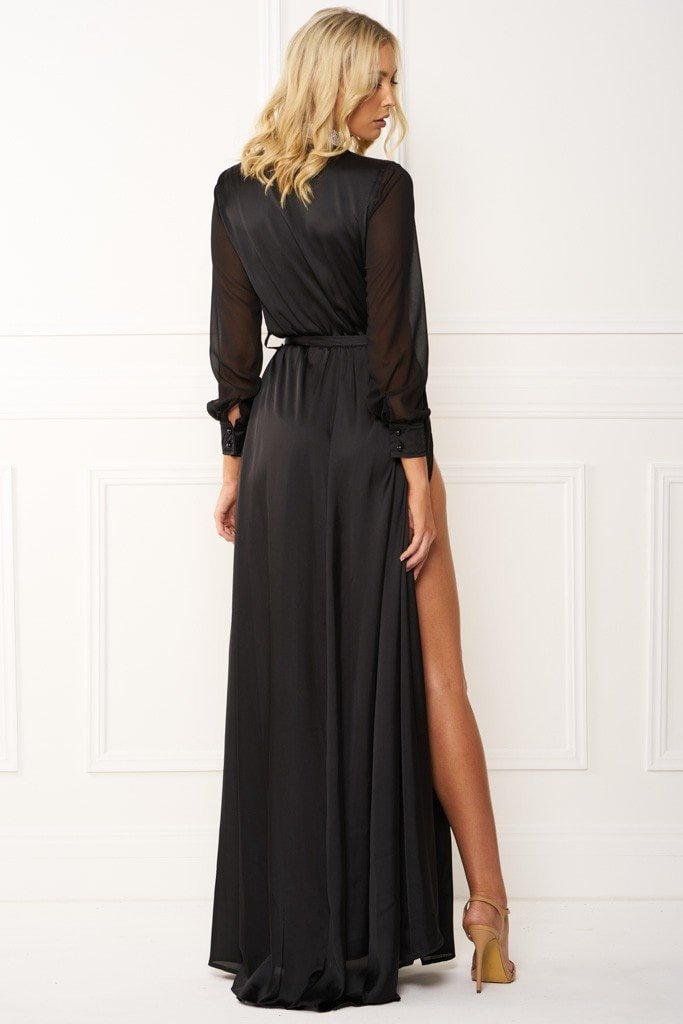 Honey Couture STEPH Black Maxi Dress Australian Designer Label Online Store AfterPay ZipPay