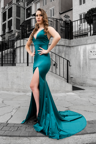 Honey Couture AISHA Emerald Green Low Back Mermaid Evening Gown AfterPay OxiPay ZipPay