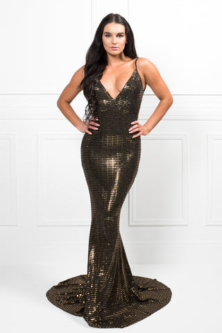 Honey Couture AISA Black and Gold Low Back Mermaid Evening Gown Dress
