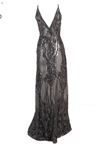 Honey Couture ALINA Black Silver 3D Crystal Effect Evening Gown Dress