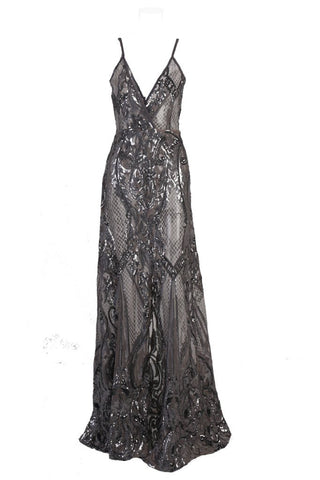Honey Couture ALINA Black Silver 3D Crystal Effect Evening Gown DressHoney CoutureHoney Couture AfterPay OxiPay ZipPay