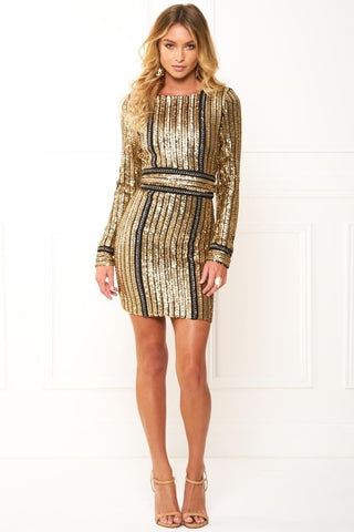 Honey Couture ANICE Black Gold Long Sleeve Sequin Belt Rope DressHoney CoutureHoney Couture AfterPay OxiPay ZipPay