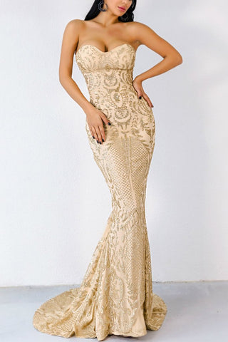 Honey Couture ALIZEY Gold Glitter Snakeskin Strapless Formal Gown Dress