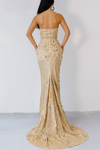Honey Couture ALIZEY Gold Glitter Snakeskin Strapless Formal Gown AfterPay OxiPay ZipPay