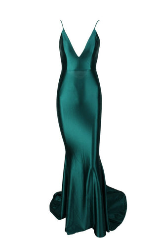 Honey Couture MILEE Emerald Green Low Back Mermaid Evening Gown Dress