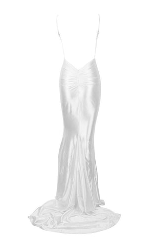 Honey Couture MILEE White Low Back Mermaid Evening Gown AfterPay OxiPay ZipPay