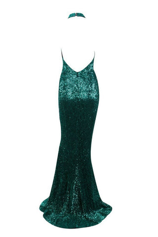 Honey Couture ESME Emerald Green Sequin Halter Formal Gown AfterPay OxiPay ZipPay