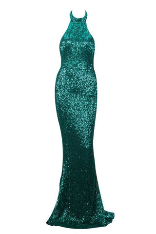 Honey Couture ESME Emerald Green Sequin Halter Formal Gown Dress