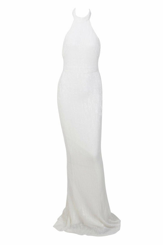 Honey Couture ESME White Sequin Halter Formal Gown Dress Honey Couture Australian Designer Label AfterPay ZipPay Laybuy OxiPay Sezzle Free Shipping