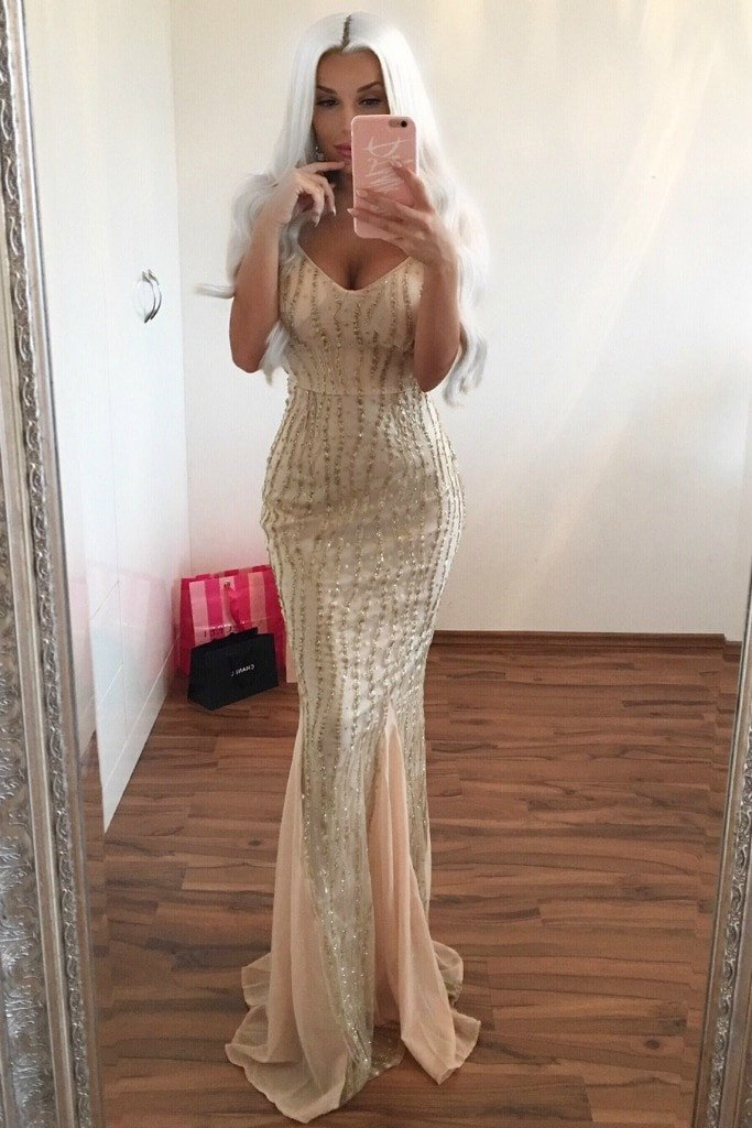 Honey Couture BRIELLE Gold Sheer Sequin w Sheer Insert Evening Gown Dress Australian Designer Label Online Store AfterPay ZipPay