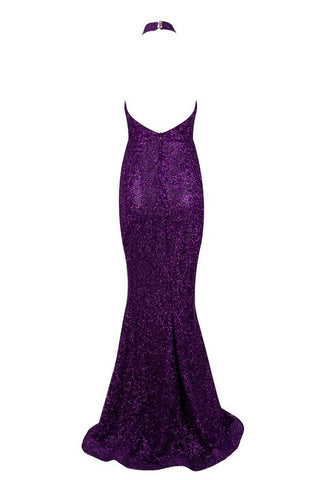 Honey Couture GRACE Purple Halter Low Back Sequin Formal Gown AfterPay OxiPay ZipPay