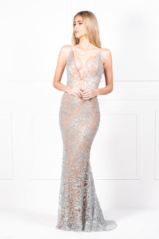 Honey Couture ETTA Silver/Nude Lace & Glitter Overlay Mermaid Formal Gown AfterPay OxiPay ZipPay