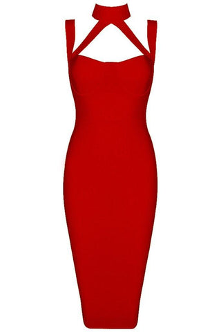 Honey Couture NINA Red Halter Bustier Bandage DressHoney CoutureHoney Couture AfterPay OxiPay ZipPay