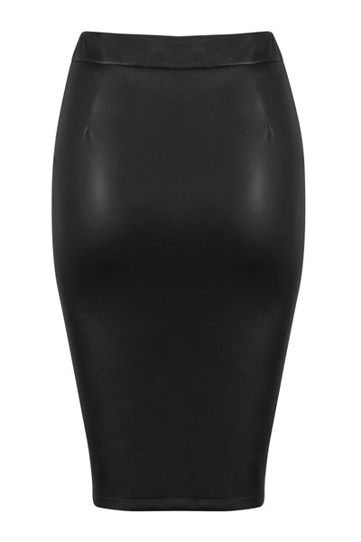 Honey Couture ZOE Black Vegan Leather Zip Front Pencil Skirt Australian Online Store Honey Couture AfterPay ZipPay