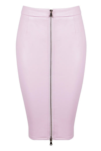 Honey Couture ZOE Pink Vegan Leather Zip Front Pencil Skirt Australian Online Store Honey Couture AfterPay ZipPay