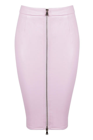 Honey Couture ZOE Pink Vegan Leather Zip Front Pencil SkirtHoney CoutureAfterPay OxiPay ZipPay
