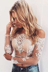 Honey Couture BRITTANY White Sheer Off Shoulder Long Sleeve Embroided Crop Top Australian Online Store Honey Couture AfterPay ZipPay