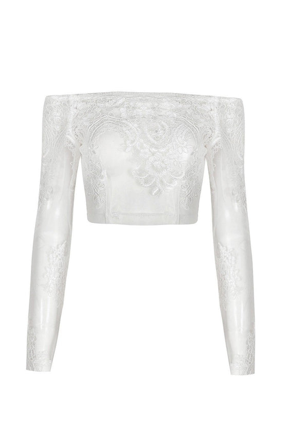 Honey Couture BRITTANY White Sheer Off Shoulder Long Sleeve Embroided Crop TopHoney CoutureHoney Couture AfterPay OxiPay ZipPay
