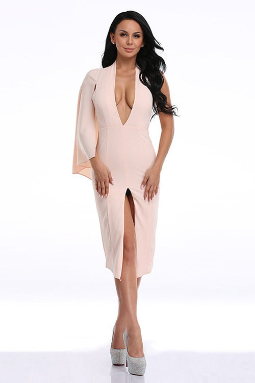 Honey Couture SARAH Nude Midi dress w Asymmetrical Cape and Split