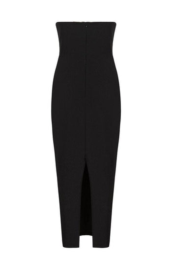 Honey Couture ANYA Black Strapless Tie Up Detail Midi Bodycon Dress Australian Online Store Honey Couture AfterPay ZipPay