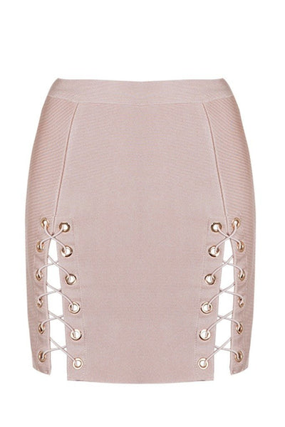 Honey Couture KYLA Pink Lace Up Split Bandage Mini Skirt Australian Online Store Honey Couture AfterPay ZipPay