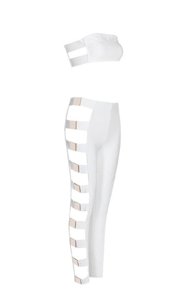 Honey Couture EVY White Metal Side Crop Top & Pant Bandage Set Australian Online Store Honey Couture AfterPay ZipPay