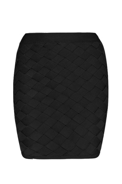 Honey Couture MACY Black Geometric Criss Cross Bandage Skirt Australian Online Store Honey Couture AfterPay ZipPay