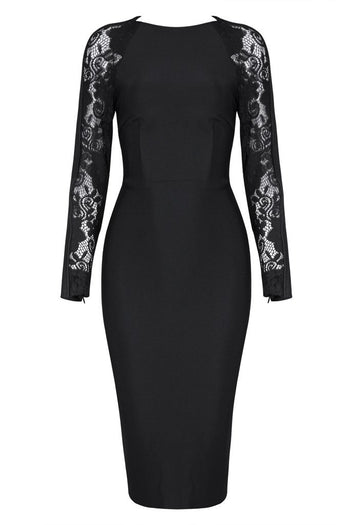 Honey Couture LIZ Black Lace Detailed Long Sleeve Midi Bandage Dress