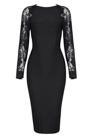 Honey Couture LIZ Black Lace Detailed Long Sleeve Midi Bandage DressHoney CoutureHoney Couture AfterPay OxiPay ZipPay