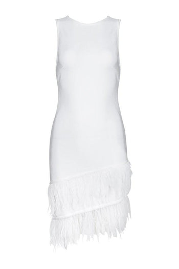 Honey Couture NIXIE White Sleeveless Feather Mini Dress