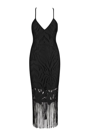 Honey Couture ANGIE Black Lace Tassel Tie Up Midi Bandage Dress