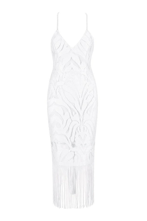 Honey Couture ANGIE White Lace Tassel Tie Up Midi Bandage Dress
