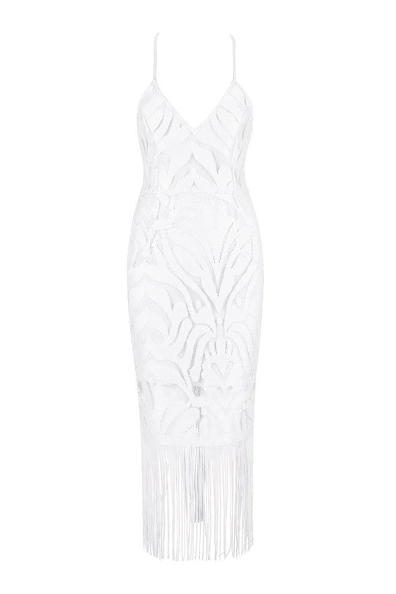 Honey Couture ANGIE White Lace Tassel Tie Up Midi Bandage DressHoney CoutureHoney Couture AfterPay OxiPay ZipPay