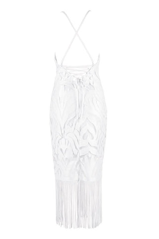 Honey Couture ANGIE White Lace Tassel Tie Up Midi Bandage Dress Honey Couture AfterPay ZipPay OxiPay Sezzle Free Shipping