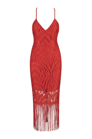Honey Couture ANGIE Red Lace Tassel Tie Up Midi Bandage Dress Honey Couture AfterPay ZipPay OxiPay Sezzle Free Shipping