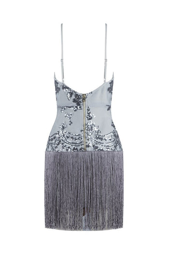 Honey Couture POPPY Grey Sequin V Neck Tassel Mini Bandage Dress